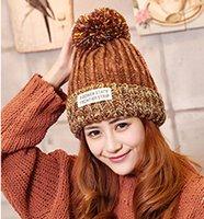 Wholesale Hat Winter Sweet Warm Korean Female Tide knitting Wool Hat All Match Ear Hair Ball Cap Children In Winter