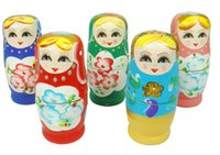 Wholesale 5pcs Russian Nesting Matryoshka Wooden Doll Set Hand Painted Decor Gift Toy Russian Nesting Dolls