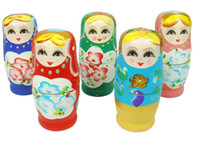 Wholesale 5pcs set Russian Nesting Matryoshka Wooden Doll Set Hand Painted Decor Gift Toy Russian Nesting Dolls