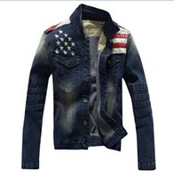 big denim jacket - Fall Big size M XL stars decorated denim jacket for men fashion motorcycle jacket outdoor casual brand jeans coat men MS096