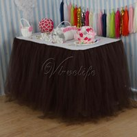 Wholesale 100cm x cm Chocolate Tulle Tutu Table Skirt Tulle Table Skirting Tableware Wedding Birthday Baby Shower Chrismas Party Table Decoration