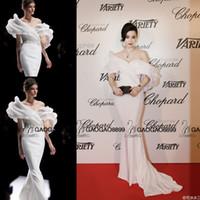 Precio de Alfombra roja del hombro fuera-Fan Bingbing en Ralph Russo Couture alfombra roja de Cannes vestidos de la celebridad 2016 árabe de Dubai Oriente Medio fuera de hombro de la sirena vestido de fiesta