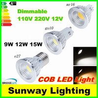 12v gu10 led - Dimmable CREE E14 GU10 MR16 E27 cob Led Bulb Light W W W Led Spot Bulbs down lights Lamp AC V V