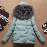 Wholesale Autumn Winter Jacket Women Parkas for women Thick Warm Wadded Jackets and coats With a Hood Large Faux Fur Collar Coat