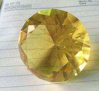 Wholesale and logo MM Yellow Crystal Glass Diamond Paper weight Wedding Decoration gift Crystal decoration Supply