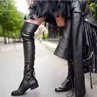 Wholesale 2016 FALL new Arrivals Fashion Womens Genuine Leather with pu Stretch Side zip up WIHT LACE UP Thigh High over the knee beads studs boots
