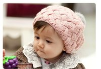 Wholesale 3Pcs Gorros baby beaine kids winter bonnet hat faux rabbit fur crochet skullies cap for years old girl turbante toucas