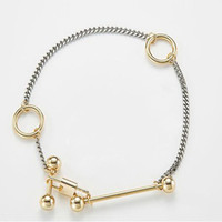 Wholesale A Dual purpose Europe Runway Design Personality Fashion Short Lock Ring Metal Copper Alloy necklace Bracelet Set
