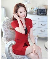 Wholesale Summer Fashion Womens Business Suits Women Skirt Suits Red Blazer and Skirt Sets Ladies Office Uniform Style OL