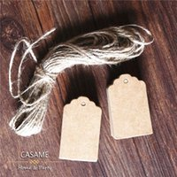 Wholesale Brown Kraft Paper Tags Lace Scallop Head Label Luggage Wedding Note String DIY Blank price Hang tag Kraft Gift