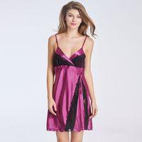 amazing lingerie - Amazing Sexy Nightgown Pijama Spaghetti Strap Satin Bathrobe Sleepwear Nightdress Plus Size S XL Lace Sexy Lingerie Robe W46249