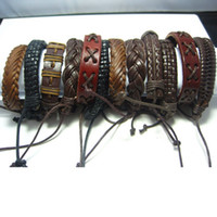 Wholesale Brand New pieces men s and women s mixed styles vintage leather bangles jewelry bracelets