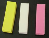 Wholesale 3Pcs White Yellow Pink Nail Buffer Sanding Block Nail Art Files Manicure Buffing Sanding Files Block Pedicure Manicure Care Nail Art Buffer