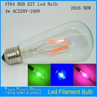 Wholesale RGB AC220V W E27 LED Filament Light Bulb ST64 Transparent Glass energy saving Bulbs Retro Edison Light Bulbs