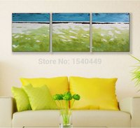 beach watercolor paintings - Hand painted Oil Painting on Canvas Room Decor Green White Beach Wall Picture for Live Room Landscape Painting set
