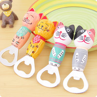 Wholesale 2016 new Creative cartoon hand painted Bali Island style cat wood opener beer bottle opener
