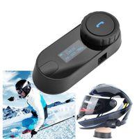 Wholesale 2016 New Style Bluetooth Receiver Intercom M Headset Helmet Motorcycle Interphone Handsfree Headphone Soft Earpiece With Screen