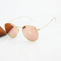 Wholesale 2016 Top Brand Fashion Metal Round Sunglasses Men Women Gold Alloy Frame Pink Flash Glass Crystal Sun Glasses Lens mm Original Box