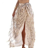 apparel beach - Chic Designer Apparel sexy side split sequin long skirts women Elegant maxi shinning straight skirt beach summer Evening cocktail party