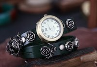 belt buckles punks - 2016 Casual Quartz Watch Korea fashion Rose nail bead female Watch Punk Watch Vine belt winding Watch Free DHL