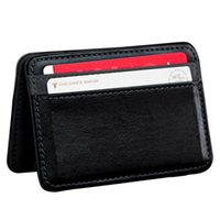 Wholesale 2016 Fashion Women Men Card Package Mini Neutral Magic Bifold Leather Wallet Holder Card Case Wallets Purse carteras mujer