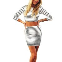 Wholesale 2 Piece Sets Women Sleeve Striped Crop Top Mini Skirt Set High Waist Bodycon Sexy