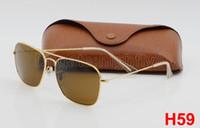 achat en gros de femmes de lunettes de mode-1pcs Mode Hommes Lunettes de soleil rectangulaires Lunettes de soleil Lunettes de soleil Designer Marque Gold Frame Marron 58mm Verres rectangulaires Lunettes de vue Brown