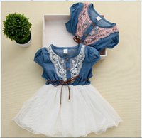 baby retail stores - Eleven Store DH Girls summer baby children lace denim dress kids retail tulle clothes BB406DS R