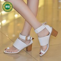Wholesale 2015 summer white European style PU high heels ankle belt buckle thick heel shoes fashion sandals Large size