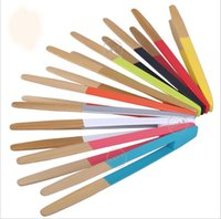Wholesale 10 quot inch Bamboo Kitchen Tongs BBQ Clip Salad Bread Serving Tongs Clip A variety of Colors for Choice