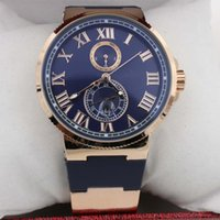 automatic watch cases - Hot Sale UN Auto watch Blue Dial Gold Case Suisse Rubber Band Glass Back mm Mechanical watch