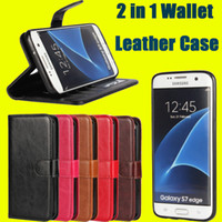Wholesale Retro Wallet Leather Case in Detachable Removable Cover with Cards Holder for iPhone S Plus Samsung S7 Edge DHL SCA155