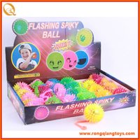 Wholesale Multicolor Elastic Spike Ball With Flashing Light up LED Night Ball For Children And Baby For Fun And Game