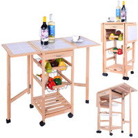 Cheap Portable Rolling Wood Kitchen Trolley Cart Drop Leaf Storage Drawers Rack Basket