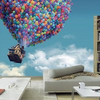 balloons wall color - Custom Photo Wallpaper D Wall Wallpaper Murals Fly Around The World A Riot Of Colours Blue Sky Color Balloons Mural Wall Paper