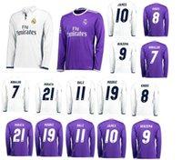 Wholesale DHL Real Madrid Soccer Jersey RONALDO home white away purple JAMES BALE RAMOS ISCO MODRIC thai quality