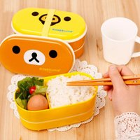 Wholesale 2 Layer new Cartoon Rilakkuma Lunchbox Bento Lunch Box Food Container With Chopsticks Japanese Style Plastic Lunch box