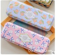 Cheap Fashion Korea style stationery cute flowers series double layer tin pencil case kids storage box 5pcs lots mix color