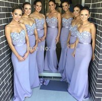 beaded s - 2015 Elegant Lilac Long Bridesmaid Dress Mermaid Sweetheart Appliques Beaded Maid of Honor Dress Vestido Para Madrinha De Casamento