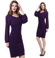 amazon packages - Ebay Amazon Best Sellers New Pattern European Suit dress Fashion Lotus Leaf Lead Wrinkled Package Buttocks Lantern Long Sleeve Dress