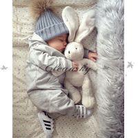 Wholesale Fashion Children Kids Winter Fur Hat Girls Boys Fur pom poms Ball Baby Beanies Cap Kids Crochet Knitted Hats M344