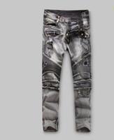 Wholesale 2016 Men s Pierre Balmain Jeans Stonewashed Biker Jeans Grey New Cotton Denim Biker Jeans