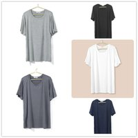 bamboo sleepwear - summer bamboo fibre thin male solid color round neck short sleeve plus size loose nightshirts home top men sleepwear