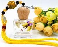 Wholesale perfume bottle pendant perfume bottle manufacturer square pendant car glass perfume bottle with wooden screw cap