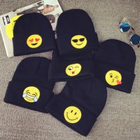 apparel hat - Emoji Warm Woolen Knitted Caps Baby Kids newborn Emoticons Hats New Fashion Winter Beanies Clothes Apparel Accessories Black Color