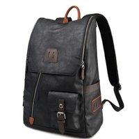 NEW école imitation cuir Sac à dos Vintage Hommes Sac à dos Homme Black Day Back Pack Mode Sacs à dos sac étudiant hommes # 150004