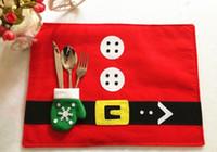 best media desktop - Christmas Table Mats Gloves Knife Fork Bags Plate Mat Home Supplies Desktop Decorations Best Gift Kitchen Hot Pads