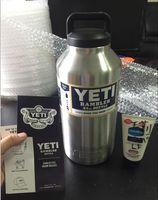 Wholesale 64oz YETI Rambler Stainless Steel Cups Large Capacit Cooler oz yeti Rambler Tumbler Cup Vehicle Beer Mug Double Wall Bilayer STOCK