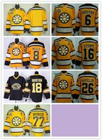 77 - Stitched Boston Bruins Blank WIDEMAN NEELY BOURQUE STURM HORTON Yellow Black Ice Hockey Jerseys Ice Mix Order