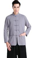 Wholesale Long Sleeve Tang suit Chinese Traditional clothing Kung Fu Shirt mandarin collar Chinese Shirt Chinese Top Color